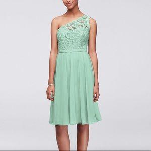 David's Bridal One Shoulder Corded Lace Dress